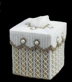 GOLDEN RIBBON Elegant Boutique Size Tissue Box by NiftyStitches4U