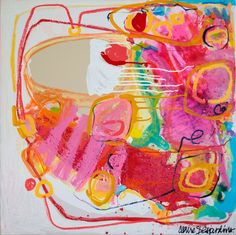 """""""Persuasion"""" by Claire Desjardins (2012). 30""""x30"""", mixed media on canvas."""