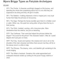 MBTI Fairytale Archetypes Part 1 ~ I'm ISTJ & yeah, I could see myself doing that Personality Psychology, Infp Personality, Myers Briggs Personality Types, Intj And Infj, Isfj, Infj Mbti, Archetypes, Just In Case, Funny