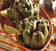 Caesar-Style Stuffed Artichokes. sounds like Leslie and me