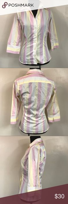 PINK THOMAS PINK YELLOW AND PINK STRIPED TOP SZ 4 Good condition pink Thomas pink yellow pink and white striped button down top size 4 Thomas Pink Tops Button Down Shirts