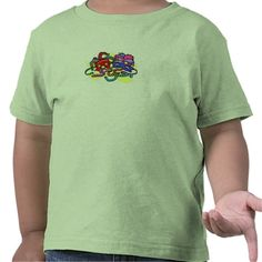 "Toddler Tees - This design features masks, feathers and beads of the festival of ""Mardi Gras"". The masks, feathers, and beads come in a variety of colors. Done on a yellow backround."