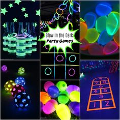 The BEST glow in the dark party games - easy and budget friendly DIY ideas The BEST glow in the dark ideas! Everything from glow-in-the-dark crafts, party ideas, decorations and slime to make your glow party a hit! Neon Birthday, 13th Birthday Parties, Birthday Party Games, 16th Birthday, Birthday Ideas, Diy Black Light, Black Lights, Black Light Party Ideas, Glow In Dark Party
