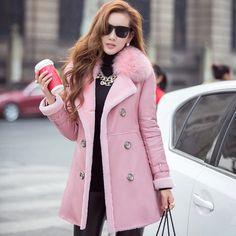 Trasporto libero 2015 donne di inverno genuino cappotto di pelle di pecora russo cappotti di pelliccia tosatura delle pecore della pelliccia vera pelliccia di volpe cappotto rosa