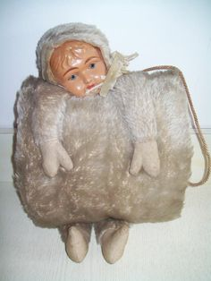 Antique, Rare, Mohair Child Hand Muff, Celluloid Doll Face, VERY HARD TO FIND! #Clothing