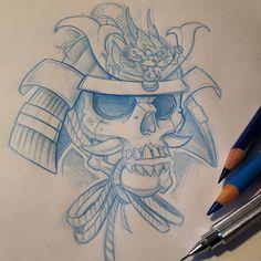 Samurai helmet #ozer #tattoo #tatouage #ironink #nantes #loveletters #graffiti #skull #samurai