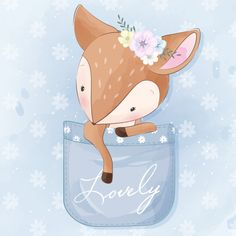 Cute little deer sitting inside the pocket - Buy this stock vector and explore similar vectors at Adobe Stock Kids Prints, Prints For Sale, Cute Illustration, Watercolor Illustration, So Cute Images, Scrapbooking Image, Baby Animals, Cute Animals, Love Png