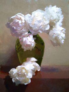 Dennis Perrin White Peonies in Ballerina Vase oil on linen