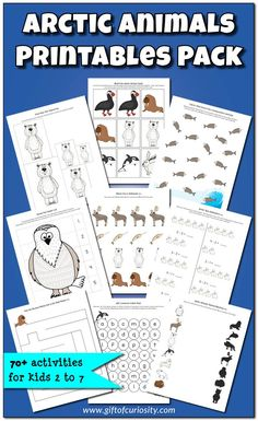 Arctic Animals Printables Pack with 70+ activities for kids ages 2-7. This pack is an amazing resource for a preschool or kindergarten Arctic unit study.    Gift of Curiosity