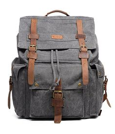 Amazon.com  Kattee Men s Leather Canvas Backpack Large School Bag Travel  Rucksack Army Green  Sports   Outdoors a034b47795645