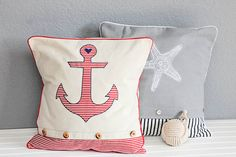 How to Make Your Own Anchor & Starfish Pillows with the help of your Silhouette - Lil' Mrs. Tori #fabricproject #heattransfer