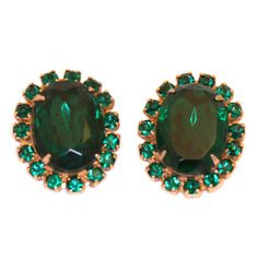 Vintage Green Oval Rhinestone Earrings by TheRoamingEclectic, $18.00