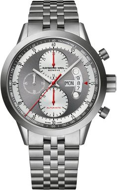 RAYMOND WEIL Men's Swiss Automatic Chronograph Freelancer Titanium Bracelet Watch 45mm 7745-TI-05659