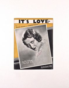 1937 Sheet Music Ruth Etting Ziegfeld Star  It's Love Hearn and Rosoff Vintage