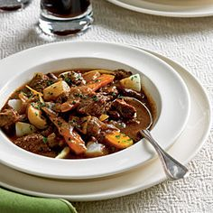 This hearty beef stew is made with lean boneless chuck that's cooked with carrots, parsnips and turnips and flavored with dark beer. Simmering it in a Dutch oven for about 2 hours makes the meat and vegetables fork tender and delicious.