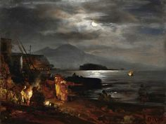 Oswald Achenbach  Title: The bay of Naples in the moonlight Original Size: 24 x 37 cm Date: 1886  Buy this painting's premium quality canvas art print from ModArty.com #art, #canvas, #design, #painting, #print, #poster, #decoration