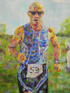 Unique gift for the Triathlete in your life! Custom Triathlon Paintings 8 x 10 by ViviansART on Etsy #Triathlon #gifts #Art