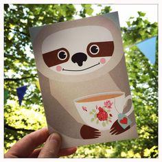 Tiere - Postkartenset Faultier / 5 Karten - ein Designerstück von Knuschels bei DaWanda