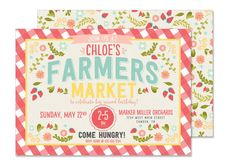 Print your own invitations with this farmers market birthday party digital file. Print as little or as many as you want!  Invite is sized at 5.25X7.25 to allow for a 1/8 bleed. ♥This invite was featured on Karas Party Ideas! Check out all the party details here♥ http://www.karaspartyideas.com/2015/08/farmers-market-birthday-party.html  ♥♥♥ Printed invitations available - https://www.etsy.com/listing/268324198/farmers-market-birthday-invitation ♥♥♥  DIGITAL ------------ *I will customize this…