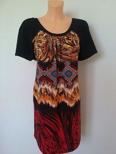 Tričko-v plamenech Tričko z viskozového úpletu,ve výrazných divokých barvách,,,,s černým raglánovým rukávem,v prodloužené délce !!! Praní na 30st. Prsa-114cm Boky-120cm Dlouhé-78cm !!! Velikost: 48-50 Short Sleeve Dresses, Dresses With Sleeves, Blouse, Women, Fashion, Moda, Sleeve Dresses, Fashion Styles, Gowns With Sleeves