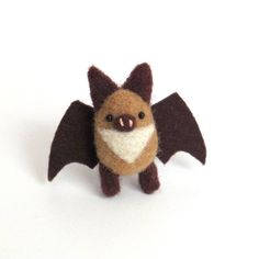 Needle felted bat brooch: miniature bat pin - light brown and dark brown