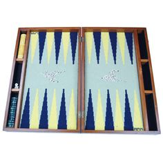 Needlepoint Backgammon Set w/bakelite chips, 1940's. Board includes hand-stitched Dalmatians.