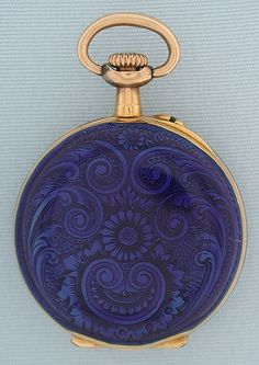 18K gold and enamel miniature antique ladies pendant watch by LeCoultre circa 1890.
