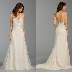 Alvina Valenta 2015 Wedding Dresses Sexy Deep V Neck Spaghetti Backless Wedding dresses Lace Wedding Dresses
