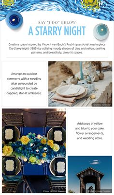 Wedding inspiration Van Gogh - See more inspirating wedding themes on B. Art Deco Wedding, Wedding Themes, Wedding Decorations, Wedding Vans, Starry Night Wedding, Wedding Altars, Swirl Pattern, Outdoor Ceremony, Van Gogh