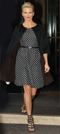 Cameron Diaz wearing polka dot dress