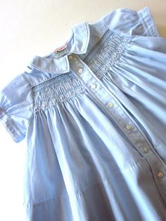 Vintage Smocked Baby Dress with Embroidery Handmade, Baby Girl Blue Cotton Dress 12 Months Smocking Baby, Smocking Plates, Smocking Patterns, Smocked Baby Clothes, Cotton Dresses, Smocked Dresses, Vintage Baby Clothes, Christening Gowns, Heirloom Sewing