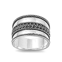 Sterling Silver Wide Braided Bali Ring
