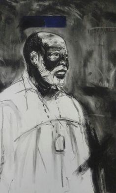Title:'Ekhehla lekholwa' Medium:Charcoal and silkscreen Size:77cmx56cm Year:2016 Artist. Minenkulu Ngoyi