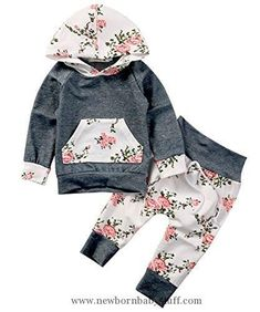 Baby Girl Clothes Baby Girls Long Sleeve Flowers Hoodie Top and Pants Outfit with Kangroo Pocket (70(3-6M), Grey)