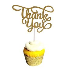 Aisila Pack of 20 Thank You Party Wedding Decorations Thank You Cupcake Toppers Wrappers Golden