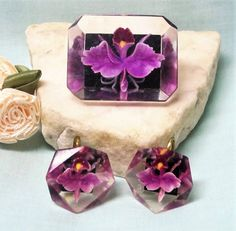 Vintage Lucite Orchid Brooch and Earring Set by letsreminisce