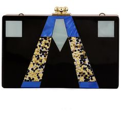Chicnova Fashion Clip Top Clutch Bag in Color Block ($33) ❤ liked on Polyvore featuring bags, handbags, clutches, sequin clutches, black sequin handbag, black sequin purse, sequin purse and chain purse