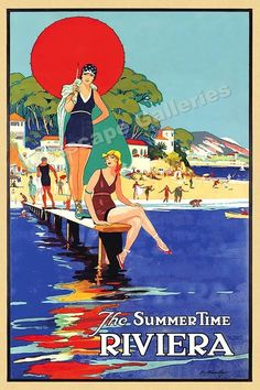 1930 The Summer Time Riviera Vintage Style Travel Poster 16x24 | eBay