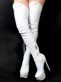 0b5750d6ea650 Stivali sopra al ginocchio sexy neri - Milanoo.com Stivali Tacco Alto
