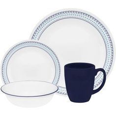 Corelle Livingware Folk Stitch 16-Piece Dinnerware Set