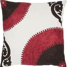 """Rizzy Home 18"""" x 18"""" Bold Color Pillow - Pink/Brown/White"""