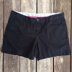 "Merona black shorts 5"" inseam For sale is a very gently used pair of Merona shorts.  Black with a 5"" inseam.  100% cotton and very Cindy.  Belt loops and 2 slip pockets in front and in back.  Black button.  Back pockets are still stitched closed so you have the preference to leave or undo.  Comes from smoke free and pet free home.  Thanks for looking!!!  Merona Shorts"