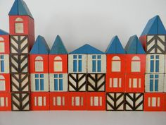 Set Of 8 Vintage Scandinavian Style House Blocks