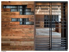 Neri&Hu — Mercato at Three on the Bund - love this as part of the entrance on our facade Interior Exterior, Exterior Design, Architecture Details, Interior Architecture, Neri And Hu, The Bund, Timber Door, Café Bar, Wood Steel