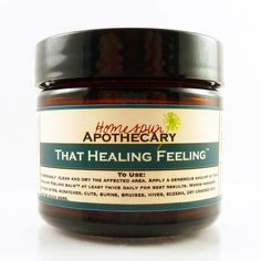 That Healing Feeling Balm from Homespun Apothecary. Perfect for small infections, cuts, scrapes, rashes, bug bites, stings & eczema. #healingbalm #herbalsolutions #healing
