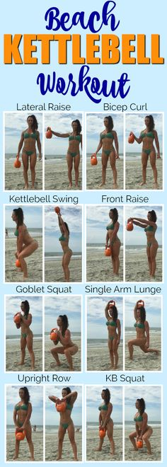 Try this fun KettleBell workout - whether you're at the beach at home or at the gym these exercises are a great way to incorporate more strength training into your fitness routine! Grab my gym workout guide Tight and Toned to add more effective worko Fitness Workouts, Gym Workout Guide, Band Workout, At Home Workouts, Workout Plans, Fitness Plan, Health Fitness, Workout Routines, Fitness Tips