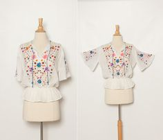 vintage 1970s embroidered peasant hippie blouse by StopTheClock