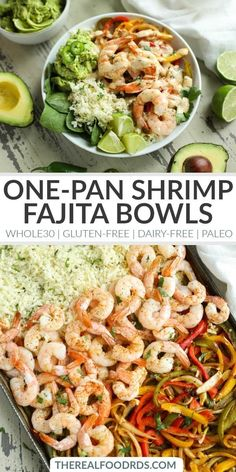 One-Pan Shrimp Fajita Bowls dinner gluten-free dinner dairy-free dinner recipe paleo dinner recipe healthy shrimp fajita recipe de One-Pan Shrimp Fajita Bowls dinner gluten-free dinner dairy-free dinner recipe paleo dinner recipe healthy nbsp hellip Healthy Dinner Recipes, Whole Food Recipes, Diet Recipes, Dairy Free Shrimp Recipes, Zoodle Recipes, Shrimp Dinner Recipes, Whole30 Shrimp Recipes, Whole 30 Easy Recipes, Dairy Free Recipes Healthy