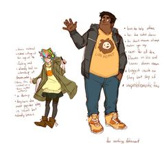 pidges and hunks designs for the art school au! Hunk is an Animation Student and Pidge Digital Art :3