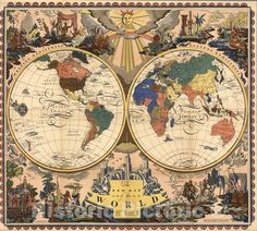 Historic Map - The New Map of the World, 1928, - Vintage Wall Art - 18in x 16in